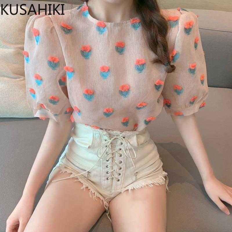 Süße 3D Blumen Mesh Chiffon Bluse Shirt Kausal Hauchhülse Oansatz Frauen Tops Sommer Blusas Femme 6G322 210603
