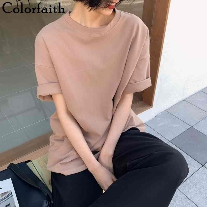 Colorfaith New Spring Summer Women 6 Colors T-shirt Casual Long Sleeve Loose Bottoming Solid Female Basic Thick Tops T6789 210408