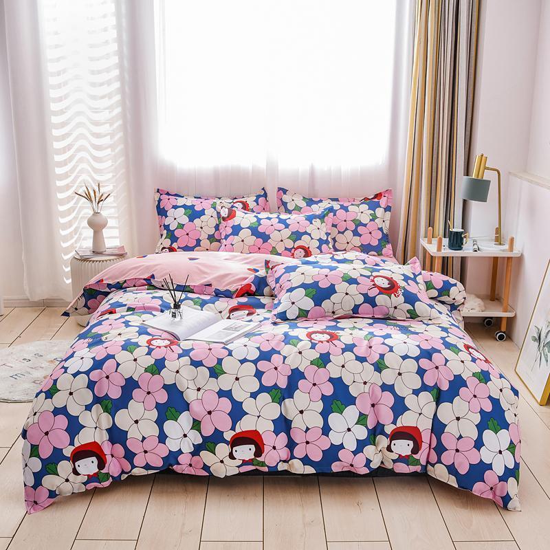 Bettwäsche-Sets Set Kissenbezug Duvet Cover Single Double Queen King 220x240 Größe Bettwäsche Steppdecke Bett Blütenblätter