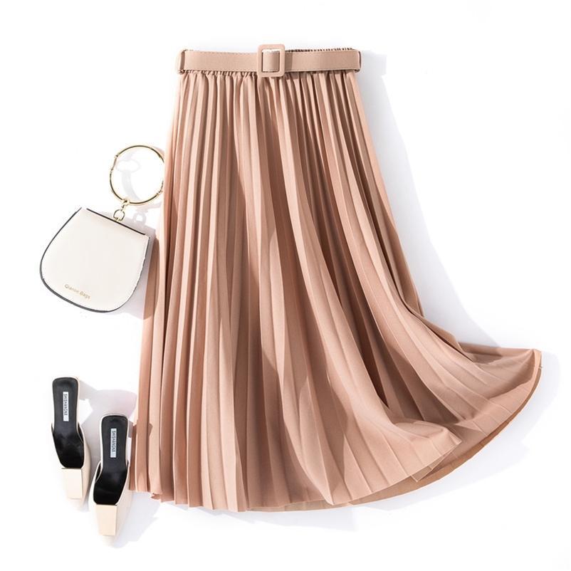 Herbst Sommer Frauen Vintage Elegante Midi Rock mit Gürtel Frauen Hohe Taille Plissee Röcke Frauen Dame Beiläufige Röcke Weibchen 210412