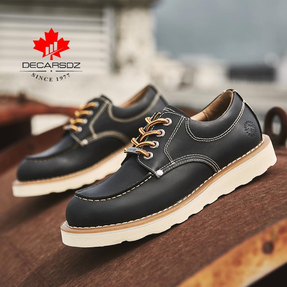 Decarsdz 2021 ماركة الرجال أحذية مريح الدانتيل متابعة الخريف الشتاء رجل عارضة أحذية الرجال الفاخرة جلد طبيعي الأحذية زائد الحجم 38-45