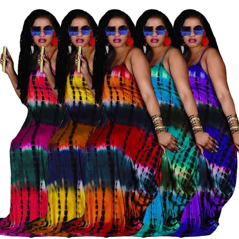 مثير أكمام النساء طويل فساتين ماكسي الأزياء التعادل صبغ مطبوعة فضفاض حبال اللباس مع جيوب السيدات الصيف الملابس عارضة 837