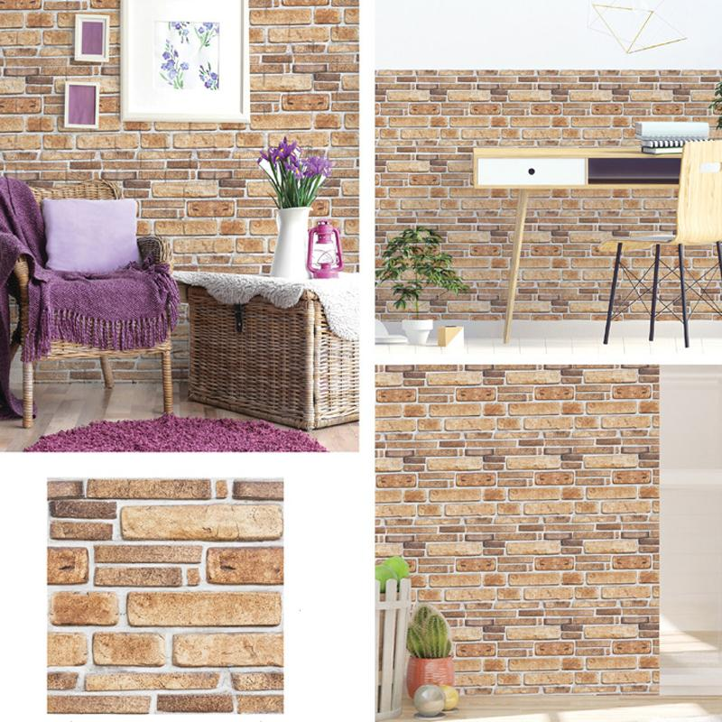 Kitchen Bathroom Living Room Sticker 30*30cm 3D Wallpaper Stickers DIY Brick Stone Self Adhesive Waterproof Wall Paper Home Decor BH4768 TQQ