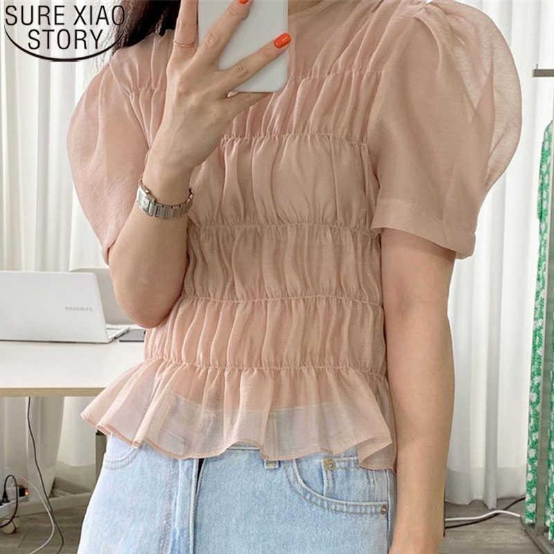 Sexy Blouse Summer Women's Blouse Plus Size Korean Ins Vitality Girl Age Reduction Transparent Wild Short-sleeve Tops 14093 210527