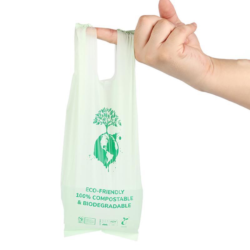 Borse di stoccaggio 8 raschiato di maisStach Based Eco amichevole Compostabile Cane Biodegradabile Cane Biodegradabile con manico