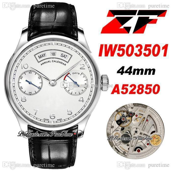 ZF PR Real Annual Calendar IW503501 A52850 Autoamtic Mens Watch 44mm Steel Case Silver Dial Number Markers Black Leather Strap Super Edition Watches Puretime A11