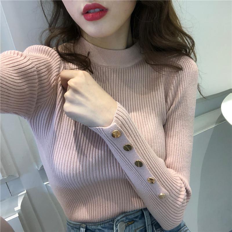 Frauenpullover 2021 Herbst und Winter langärmlige gestrickte Bottoming Pullover Top Slim Slimm Turtscheck Pullover-Taste