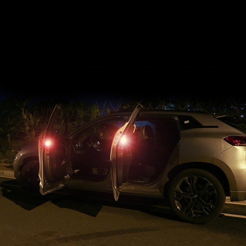 4pcs Pasta LED Car Porta di sicurezza Luci di sicurezza Anti collisione Coda Lampeggiante Apertura AVVERTENZA AVVERTENZA Lampada da induzione magnetica
