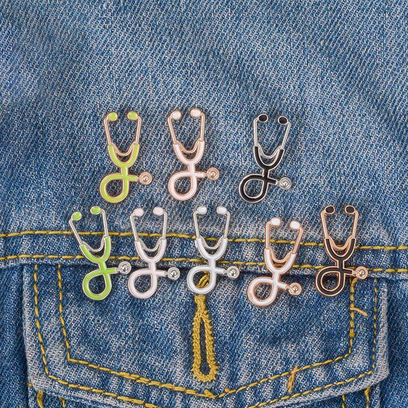 Enfermeira Médico Estetoscópio Esmalte Brooch Pins Creative Lapel Broches Emblema Para As Mulheres Homens Moda Jóias Presente