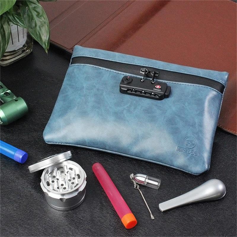 FireDog курение запаха, запястья сумка с блокировкой PU кожаный табачный чехол для травы запах доказательство стеска контейнер для хранения корпуса 1821 v2