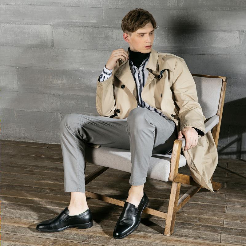 Primeira camada de couro pequeno tamanho masculino sapatos quatro estações vestido de couro uma etapa única negócio trabalho sho gengc