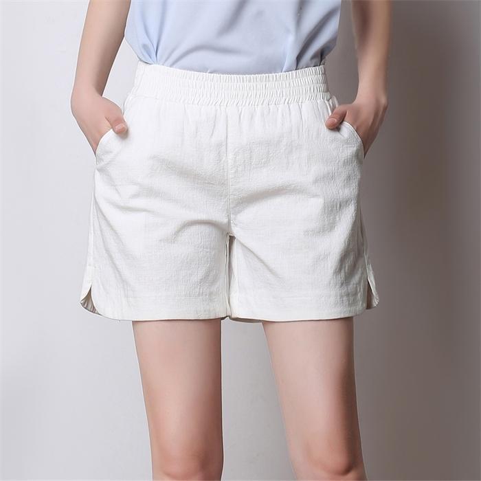 Verão chique de linho de algodão 6 cores juventude rua casual alta cintura shorts verão mulheres