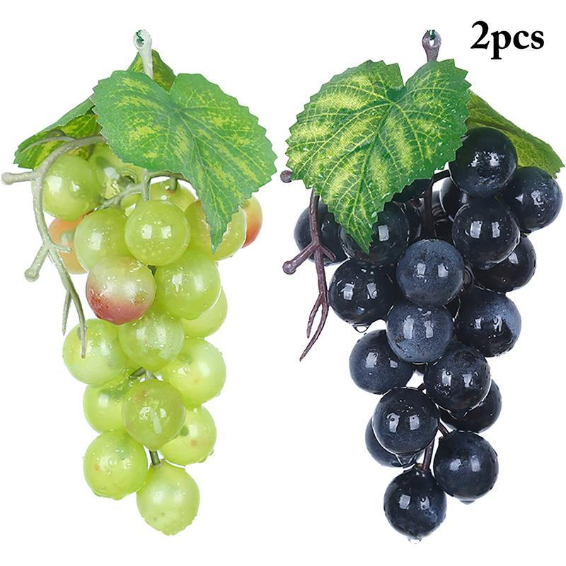 4pcs Artificial Fruit Grapes Plastic Fake Leaves Christmas Home Garden Wedding Party Decoration Food Photography Props