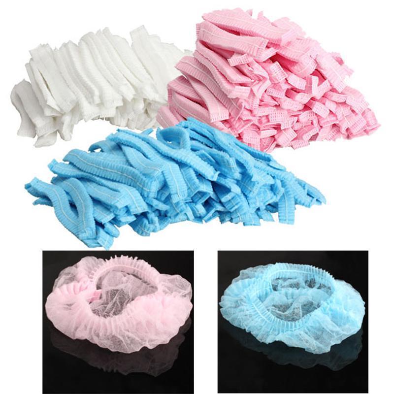 100PCS Women Men Bath Caps Non-woven Disposable Shower Caps Pleated Anti Dust Hat for Spa Hair Salon Beauty Bathroom Accessorie