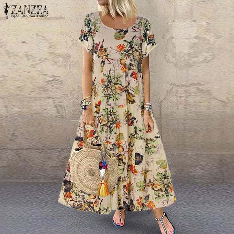 Zanzea 2021 Vestido de verano Mujer Vintage Floral Impreso de manga corta Sundress Damas Bohemia Partido Largo Vestido Robe Vestido suelto X0521