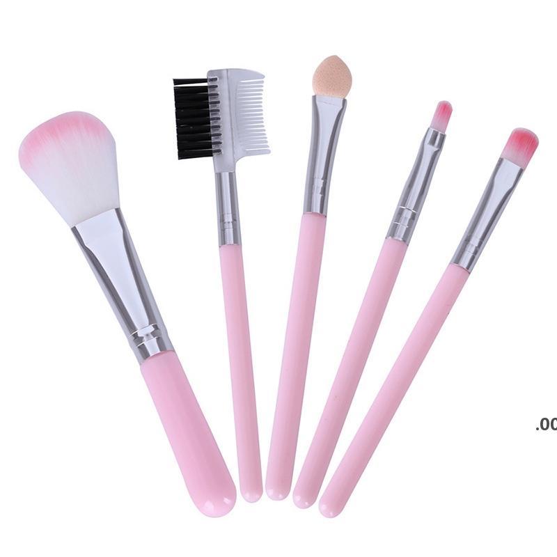 Pinceaux de maquillage rose pour outils débutants Kit ombre oculaire Eye-linge Eyeliner Eyelas Tyelash pinceau de maquillage à lèvres 5 pcs / lot lle8572
