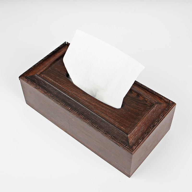 Boîte en bois Wengé Boîte de papier de queue de papier de bureau de bureau à domicile contenant du courrier de pompage chinois
