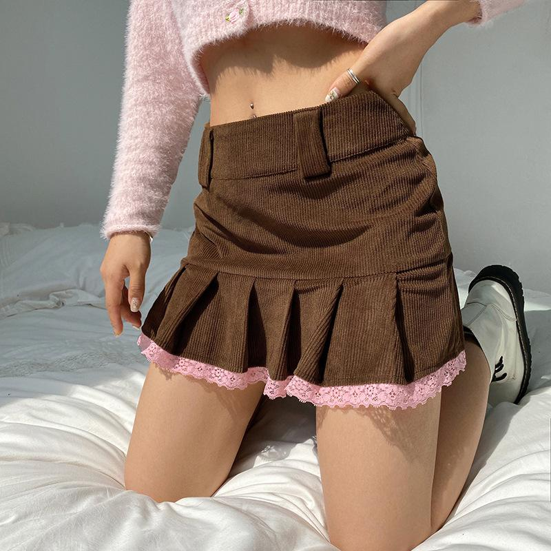 2021 Summer College Style Skirts Lace Stitching Corduroy Vintage Brown