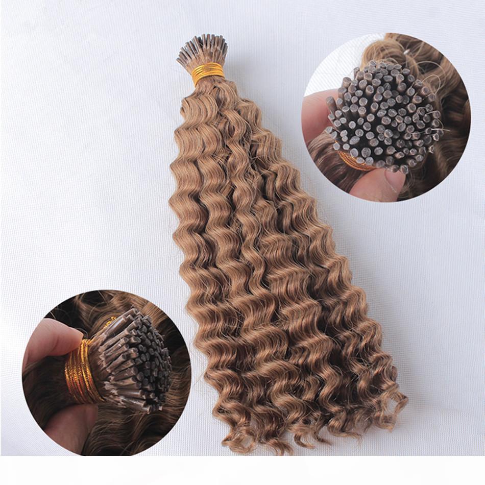 Elibess Hair-Factory Proveedor I Tip Mezcle Color # 6 8 Hair Humano 1g Piece 100G Onda profunda Pre-Bonde Hair Hair Extension