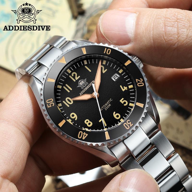 Addies Brand Watch Men's Steel Band Automatic Mechanical Waterproof Luminous Sports Customization Wristwatches