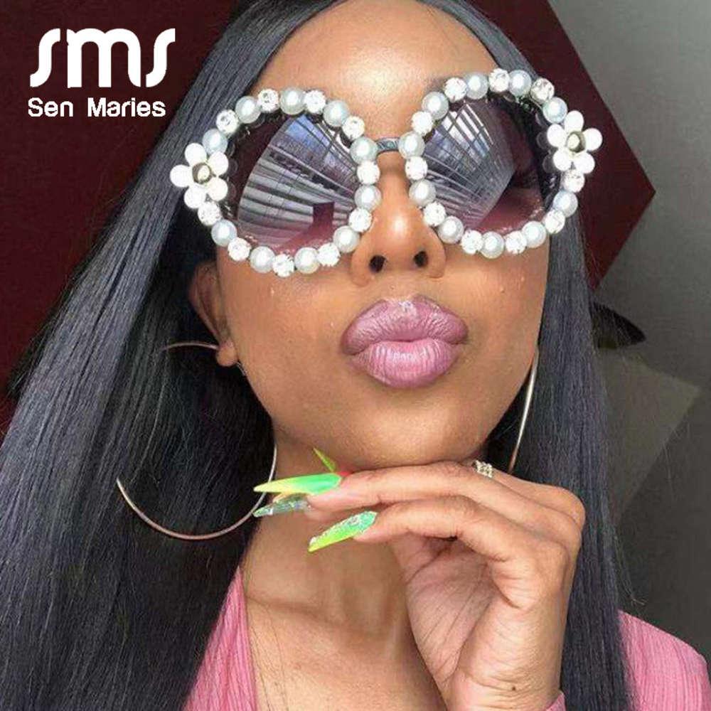 Gafas de sol de lujo Mujer dulce flor con rhinestone perla gafas de sol redondas vintage retro gafas para damas de playa tonos UV400