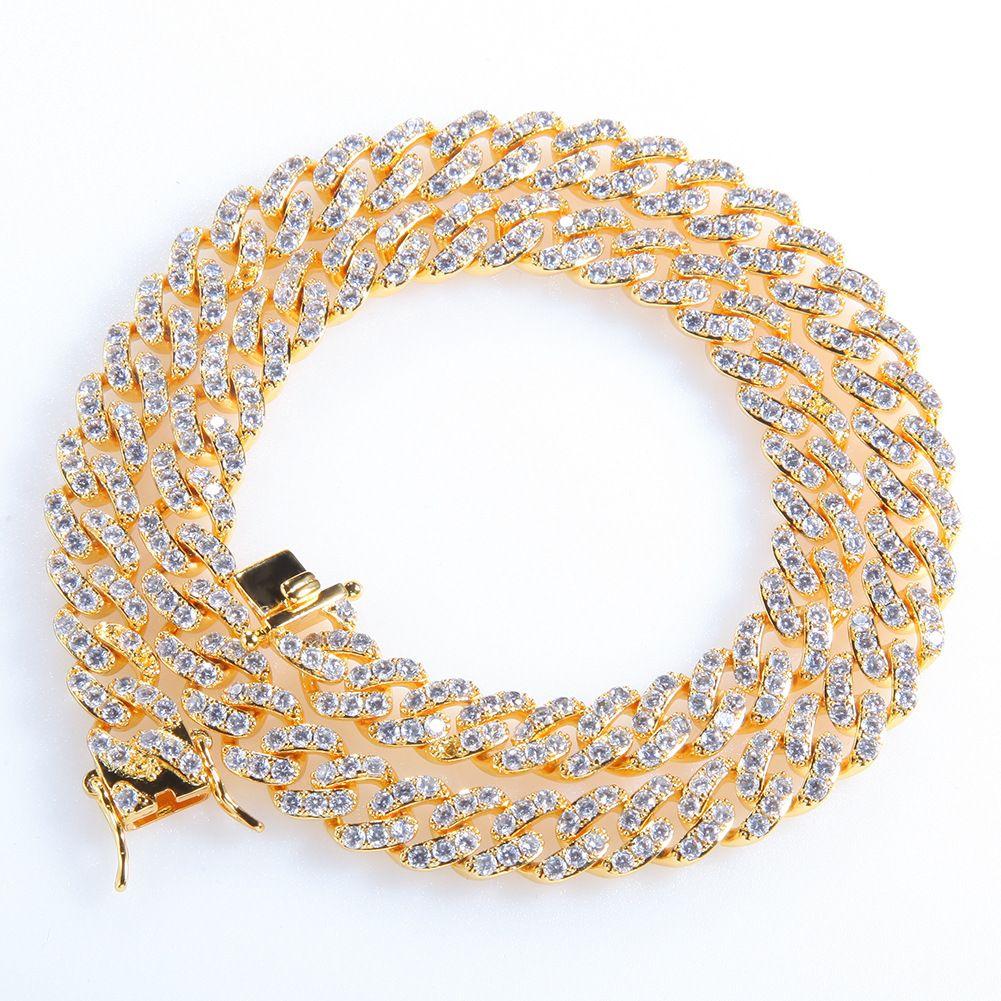 Iged خارج ميامي الكوبي ربط سلسلة الفضة رجل سلاسل الذهب قلادة سوار الأزياء الهيب هوب مجوهرات 9 ملليمتر