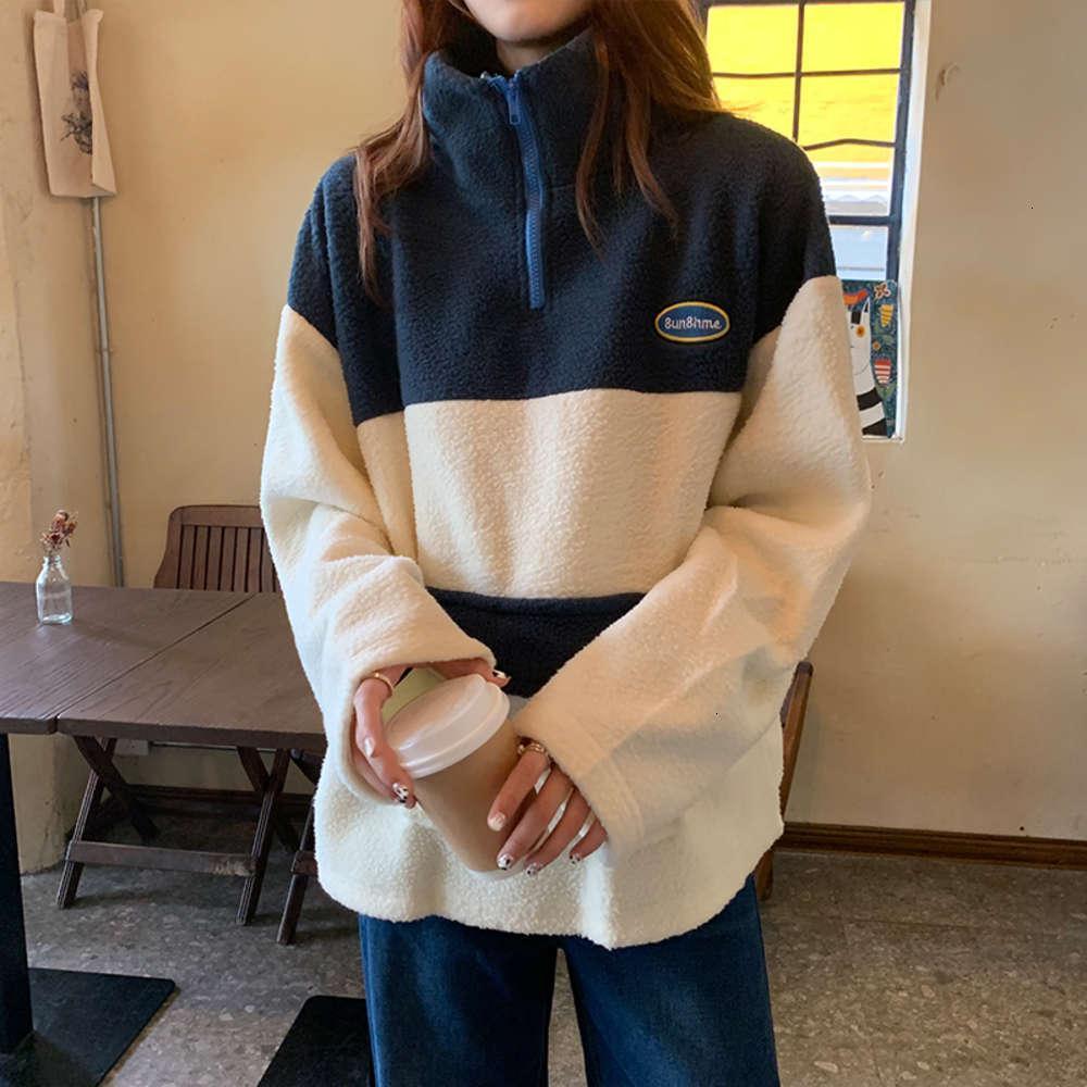 Свитер с капустым кашемировой кашемией с высоким воротником Женская плюшевая утолщенная свободная корейская ленивая ветер осенью и зимняя куртка на молнии