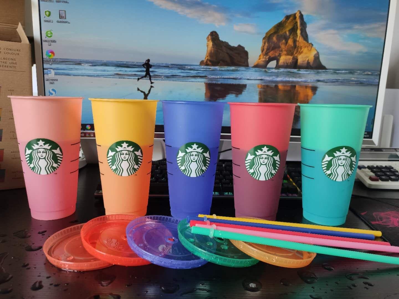 طباعة آلة الأشعة فوق البنفسجية، لا يتلاشى اللون، 24 أوقية / 710ML Starbucks اللون تغيير كوب بلاستيك، قابلة لإعادة الاستخدام كوب شفاف شفاف، غطاء أسطواني، قش القدح، بارديان