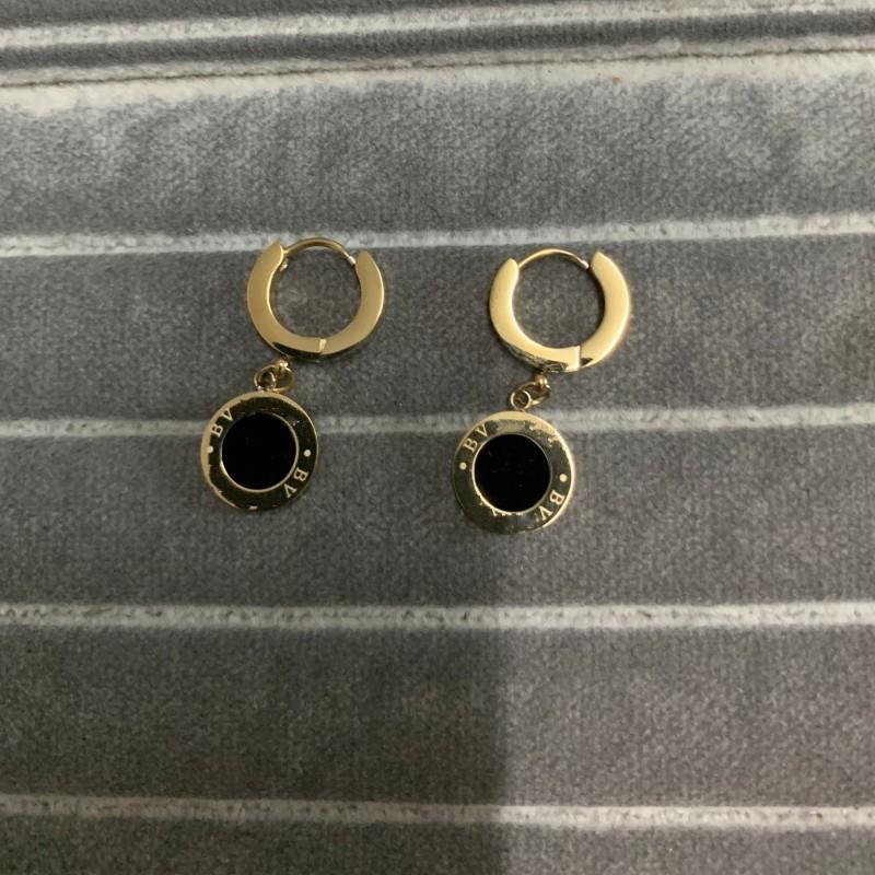 2021 Высочайшее качество Делюкс 18k Розовое Золото Черный Круг Падение Серьса Мода Мода 316L Титановый Сталь Летние Серьги для Женщин Девушки Оптовая