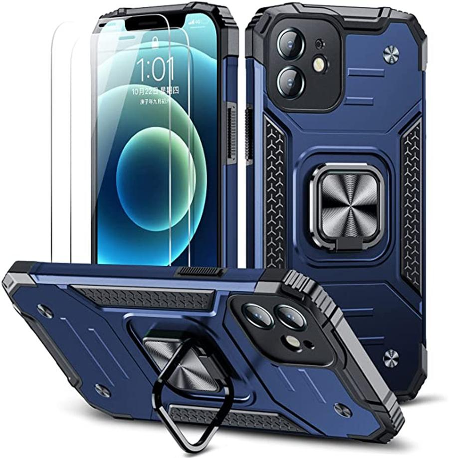 Compatible for iPhone 13 Case,with 2 Screen Protector,case for iphone 12 11 x xr xs max 7 8 plus,Heavy Duty Rugged Armor Protective,with Ring Kickstand