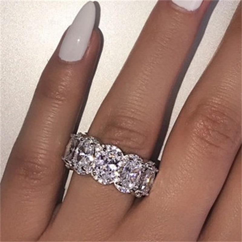 Çarpıcı Sınırlı Sayıda Eternity Band Promise Ring 925 Ayar Gümüş 11 adet Oval Elmas CZ Nişan Yüzükler Kadınlar için Lover 1008 Q2