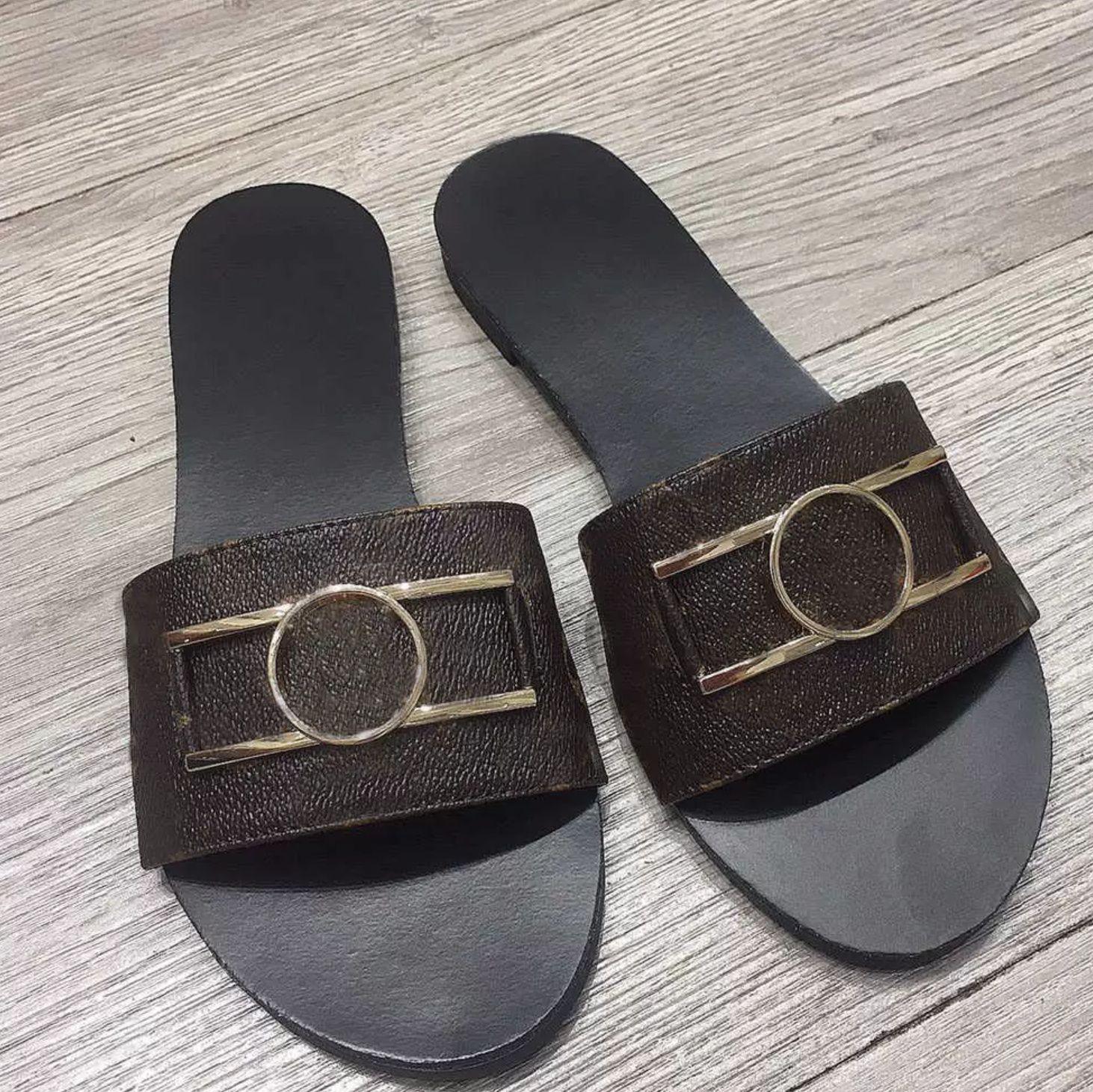 En kaliteli lüks tasarımcı erkek kadın terlik sandalet ayakkabı slayt yaz moda geniş düz flip flop # 5