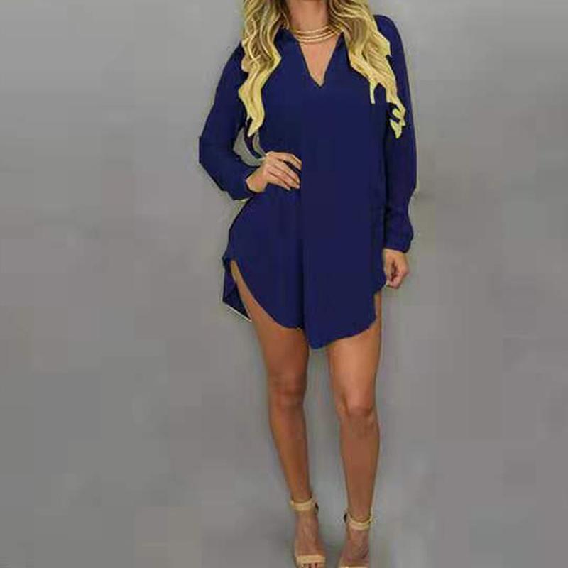المرأة البلوزات قمصان كيريندو المرأة الشيفون بلوزة قمم الخامس الرقبة طويلة الأكمام البحرية الأزرق عارضة قميص الخريف عدم تناسق