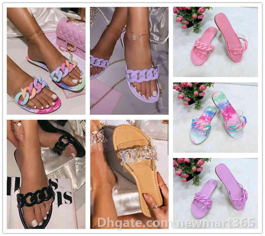 Sexy moda mulheres chinelos candy cor sliders chain slipper 5 cores sandálias senhoras flip flop