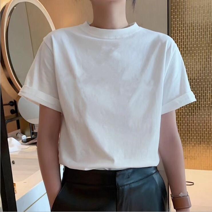 2020 primavera e verão Novo Europeu Inglês FL Impresso em torno do pescoço t-shirt de algodão homens e mulheres soltas designer coreano de manga curta casais t