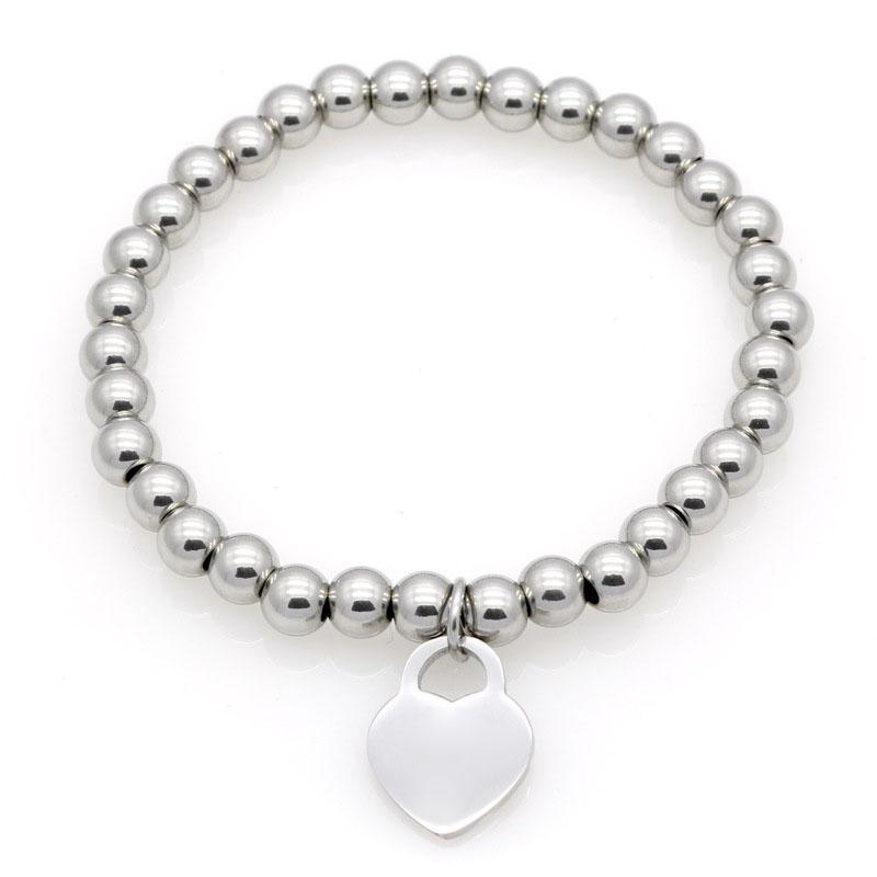 Nuove donne Bracciale in rame perline in acciaio inox Per favore, torna a carming charms t lettera Pulsera Braccialetti