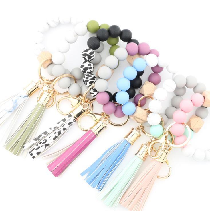 Party Favor Silicone Bead Bracelets Beech Tassel Key Chain Pendant Leather Bracelet Women's Jewelry 14 Style DB702
