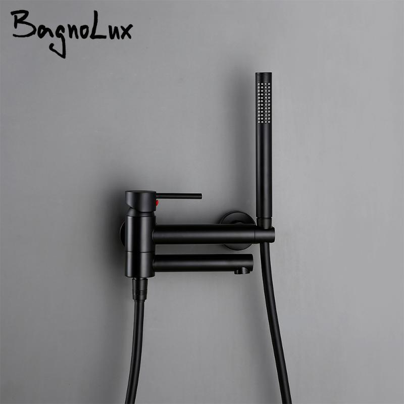 Bagnolux Brass Black Wall-Mounted And Cold Mixed Type Bathtub Spout Hand Spray Shower Seat Bathroom Faucet Sets