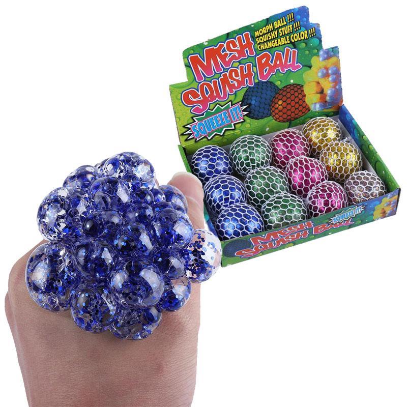 6,0 cm tamanho grande glitter pó malha esferográfica bola de uva fidget brinquedo apertar brinquedos anti estresse esferas de ventilação de descompressão ansiedade