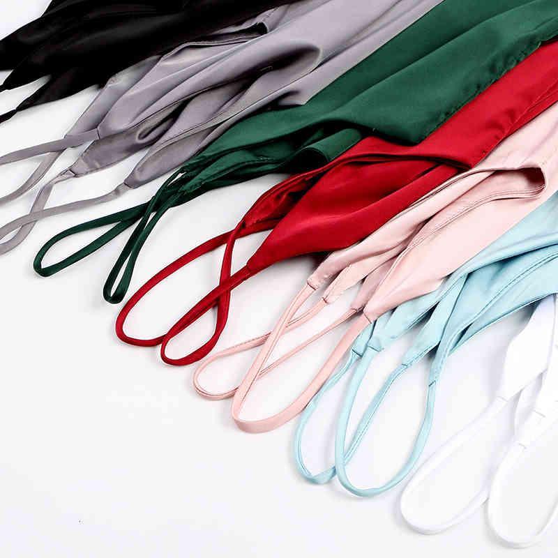 Spaghetti Strap Top Women Halter V Neck Basic White Cami Sleeveless Satin Silk Tank Tops Women'S Summer 2019 Camisole Plus Size