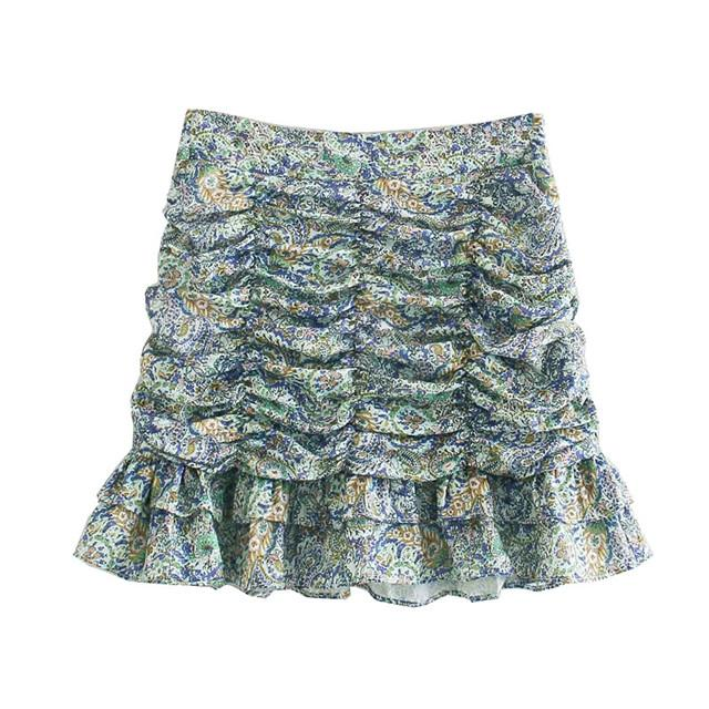Women's pleated printed mini skirts, retro high waist skirt, back zipper
