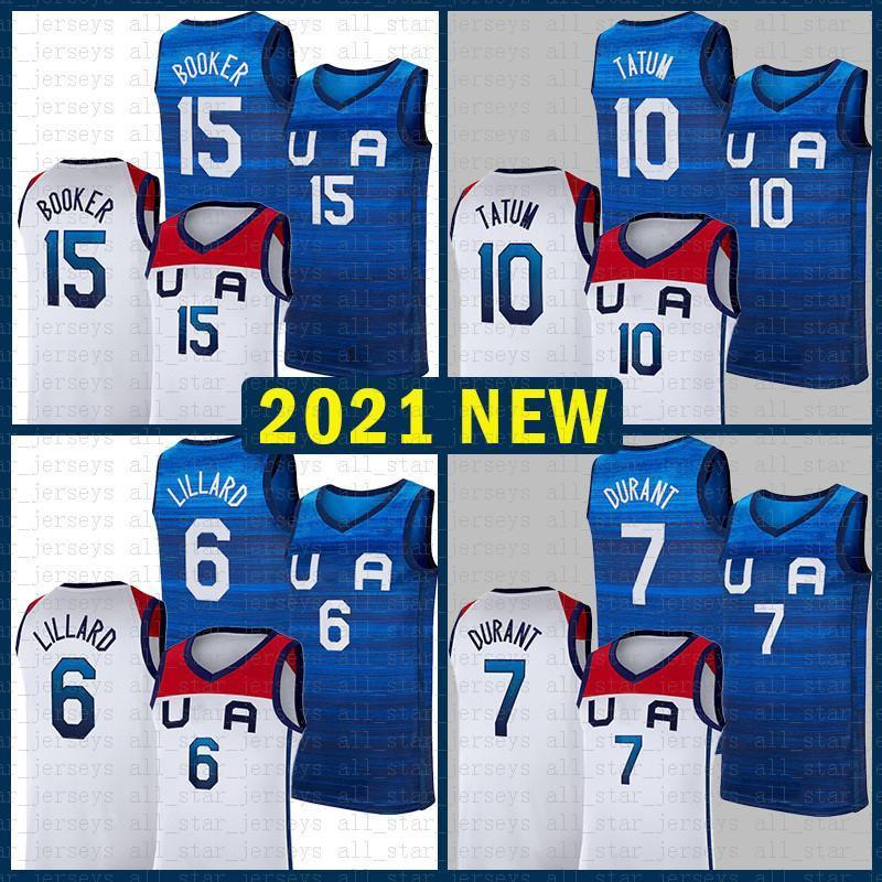 Basquete Jersey Equipe América 2021 EUA Tokyo Verão Olímpica Damian 6 Lillard Kevin 7 Durant Jayson 10 Tatum Devin 15 Booker Escuro - Branco Azul