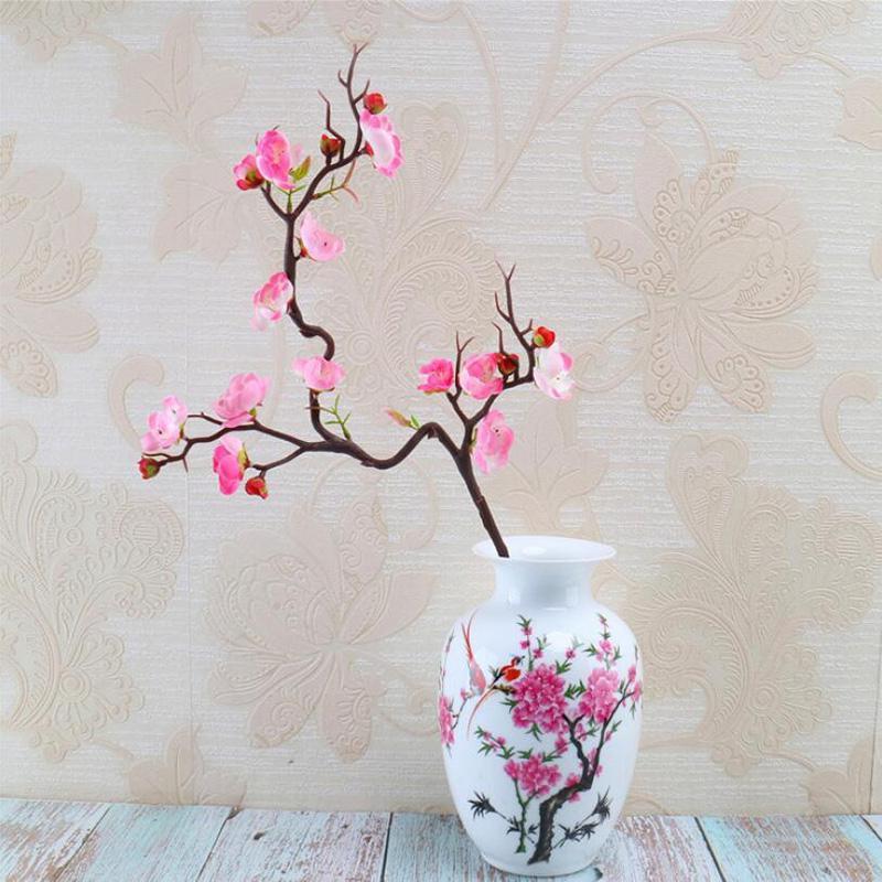 Pflaumenkirry Blüten Künstliche Seide Blumen Flores Sakura Baum Niederlassungen Heimtisch Wohnzimmer Dekor DIY Hochzeit Dekoration Dekorative WR