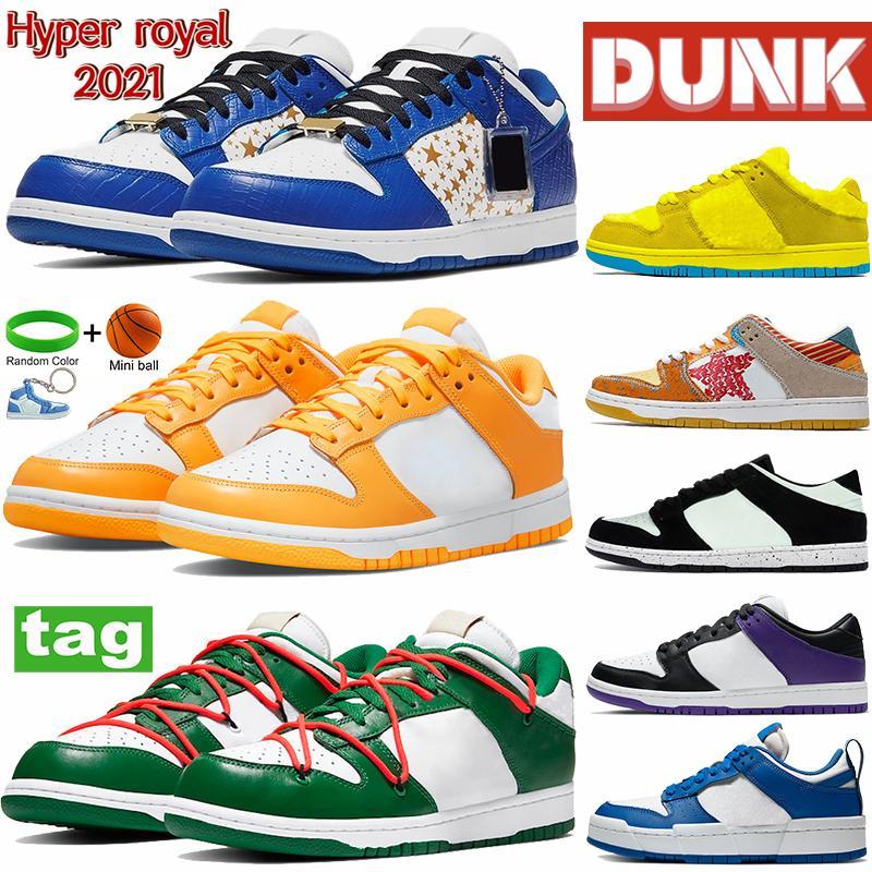 Hyper Royal 2021 dunk الرجال النساء الاحذية شون caps يعني الأخضر الأصفر البرتقالي الأزرق الدب باركاروت براون جامعة حذاء رياضة أحمر