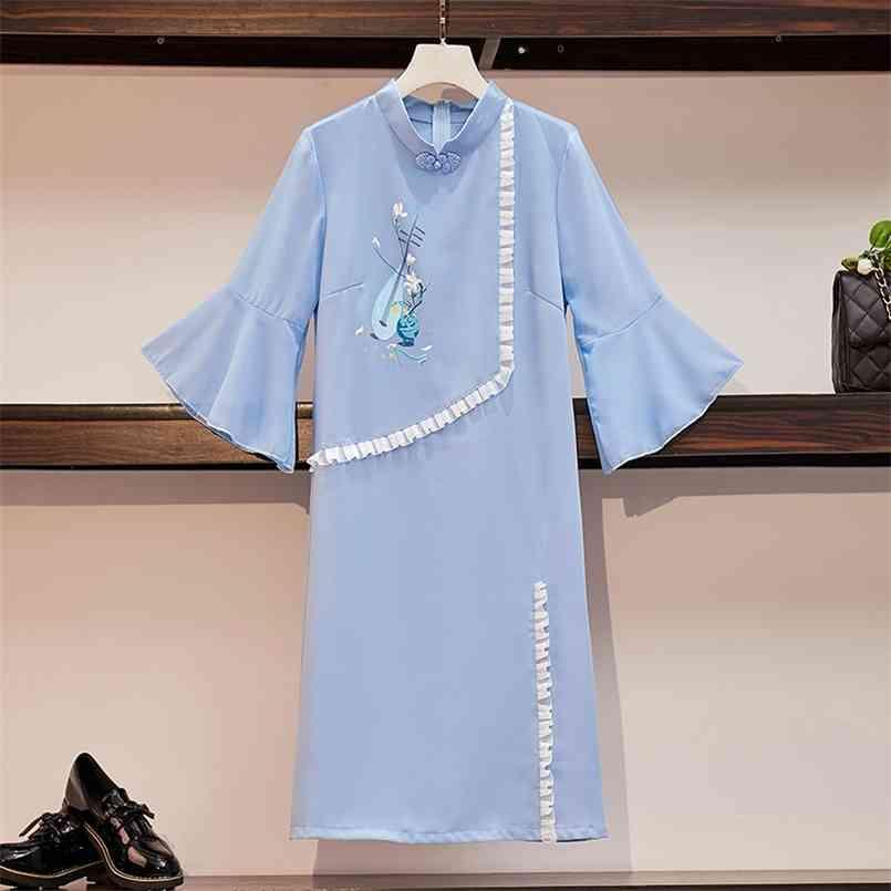 Plus Größe M-4XL 3XL Blau Lose Mode Moderne Cheongsam Orientalisches Kleid Frauen Kurzarm Qipao Traditionelle chinesische Kleidung 210603