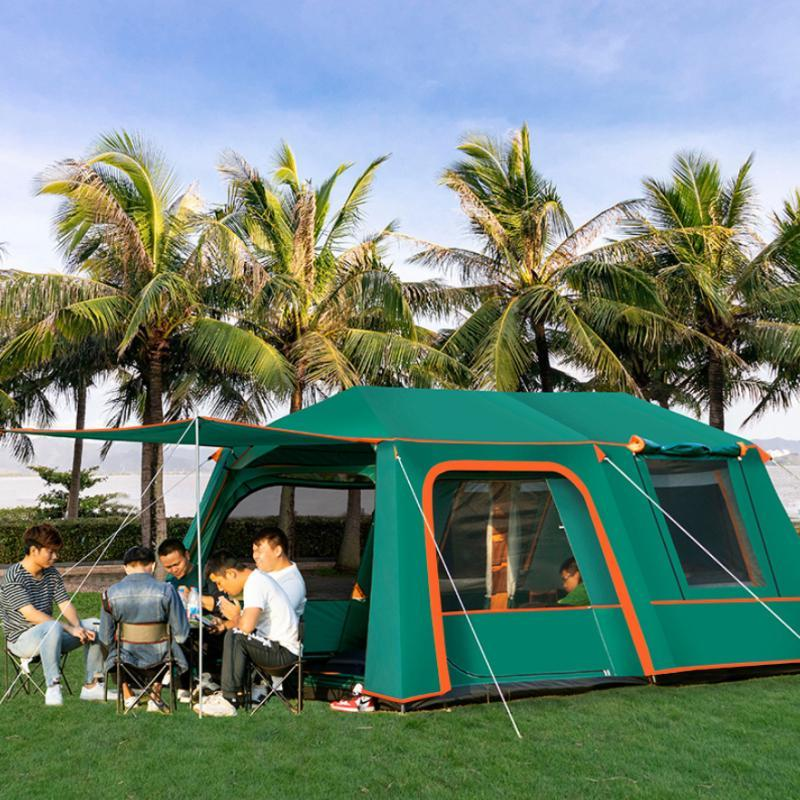 التلقائي 2 غرف 1 قاعة 5-10 شخص استخدام طبقة مزدوجة للماء أربعة موسم يندبروف تخييم خيمة خيام وشرفة كبيرة