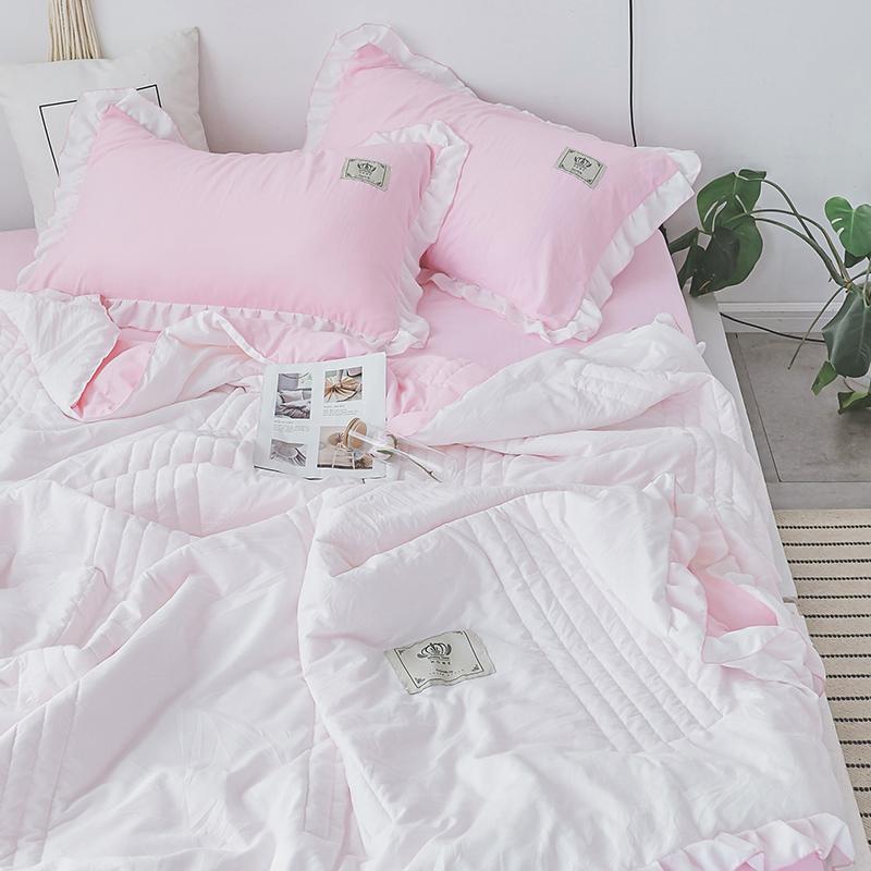 Bettdecke setzt solide farbe bettwäsche gewaschene baumwolle sommer quilt decken weiche tröster bett abdeckung quilting blech kissenbezug home textils #