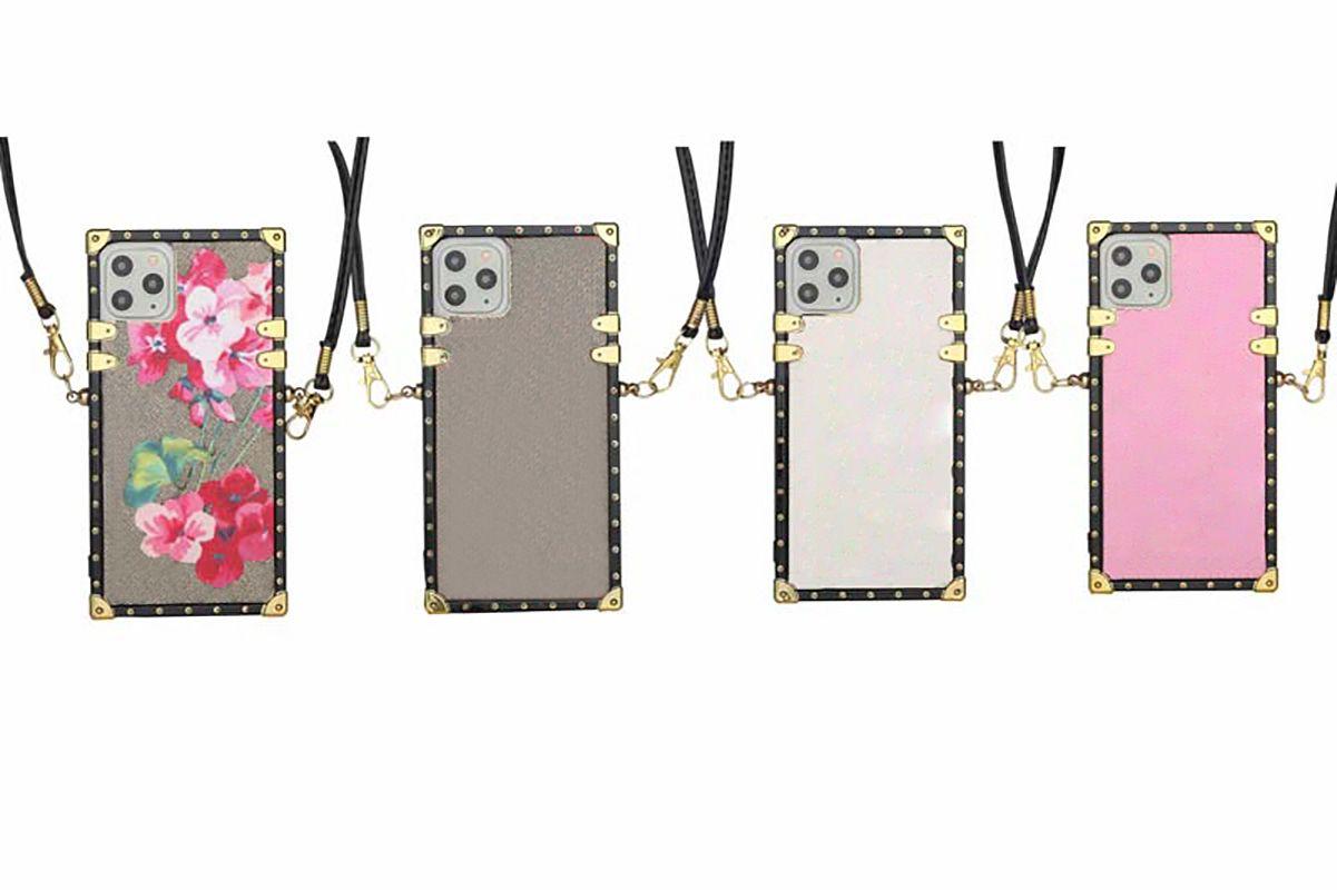 أزياء الحالات الهاتف لآيفون 13 برو ماكس حالة 12 11 XR XS XSMAX بو الجلود شل سامسونج S20 S20P S20U ملاحظة 10 20 20U مع الحبل