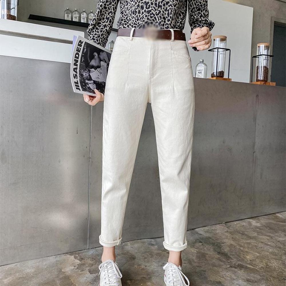 High Waist Beige Women Harem Straight Jeans Pants White Button Pockets Ankle-length Denim Pant For Girls 2021 Korean Japan Style