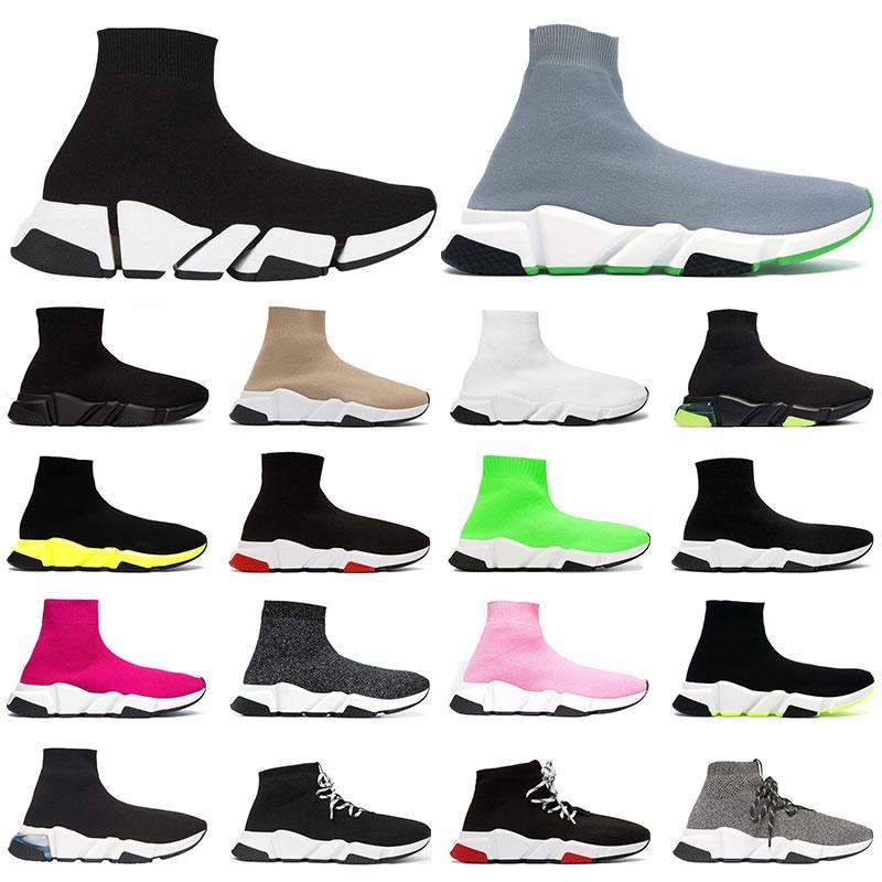 2.0 망 클래식 양말 신발 플랫폼 트리플 블랙 화이트 붉은 색 클리어 솔 옐로우 fluo bule 플랫 낙서 유일한 여자 패션 구두 36-45